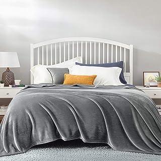 Bedsure Plaid Couverture Polaire Gris Couvre-lit 220x240cm pour 2 Personnes - Plaid Douce et Chaude Jeté de Canapé Flanell...