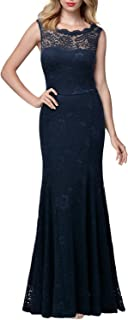 Miusol Women's Retro Flare Lace Evening Party Maxi Dress