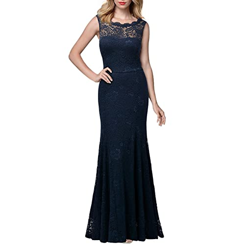 ad13596dbb19 Miusol Women s Retro Flare Lace Split Side Evening Black Maxi Dress