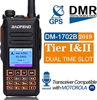 BaoFeng DM-1702B DMR GPS Record Tier 1&2 Dual Time Slot Dual Band Digital/Analog Two Way Radio Compatible with Motorola