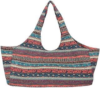 Large Capacity Bohemian Ethnic Style Print Canvas Yoga Bag, Yoga Mat Tote, Yoga Mat Bag with Side Pocket, Yoga Bag Over Sh...