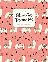 Dated Student Planner July 2019 - June 2020: High School or Middle School Planner with Subject Blocks - Peach Pink Llama (Diary & Organizers for Academic Year 2019-2020 - Cute)