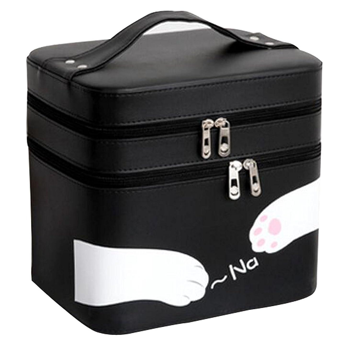 感じるバスルーム動脈FYX 化粧品収納 収納ケース コスメボックス メイク用品収納 小物入れ 大容量 取っ手付 ミラー付き 携帯に便利  カワイイネコ 3段タイプ (ブラック)