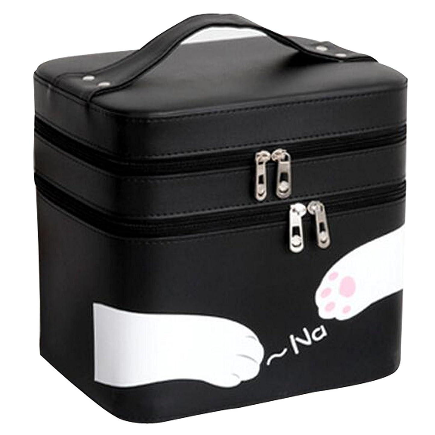 刺繍図排泄するFYX 化粧品収納 収納ケース コスメボックス メイク用品収納 小物入れ 大容量 取っ手付 ミラー付き 携帯に便利  カワイイネコ 3段タイプ (ブラック)