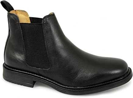 Roamers Mens Twin Gusset Padded Leather Chelsea Boots Black