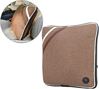 Electric Massage Pillow, USB Rechargeable Soft Cotton Neck Back Cushion Massager for Travel Car Home, CE/FDA/RoHS/LVD Attestation(Linen Brown)