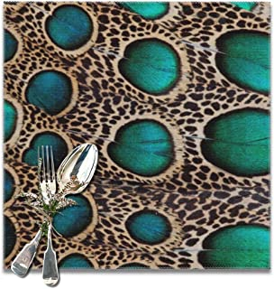 Yutoa-Design Teal Spotted Pheasant Feather Table Placemats for Dining Table,Washable Table mats Heat-Resistant(12x12 inch) Set of 6
