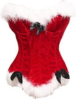 Sexy Christmas Mrs. Claus Costume Bustier Corset Top