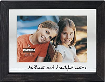 Malden International Designs Rustic Woods Silkscreened Glass Floater Brilliant and Beautiful Sisters Matted Picture Frame, 4x6/6x8, Black