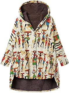 Thicken Coats for Women,2019 Autumn Winter Lady Hooded Warm Solid Printing Patchwork Button Pocket Outwear