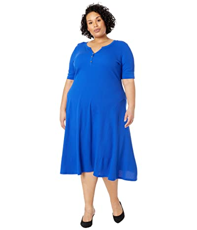 LAUREN Ralph Lauren Plus Size Cotton Henley Dress (Pacific Royal) Women