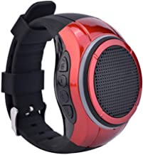 GROOVX Waterproof Bluetooth Speaker Watch Band | Wireless Wearable Portable Speaker with MP3 Player & FM Radio for Running, Hiking, Climbing | LED Flashing Light (Red)