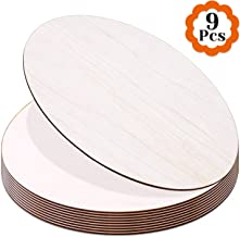 Round Wood Discs for Crafts, Audab 9 Pack Wood Circles 12 Inch Unfinished Wood Rounds Wood Plaque for Crafts, Door Hanger,...