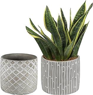 Sponsored Ad - SOPHSEAG 4 inch Pots for Plants - Cement Planter Small Flower Pots, Geometric Design Concrete Succulent Pot...