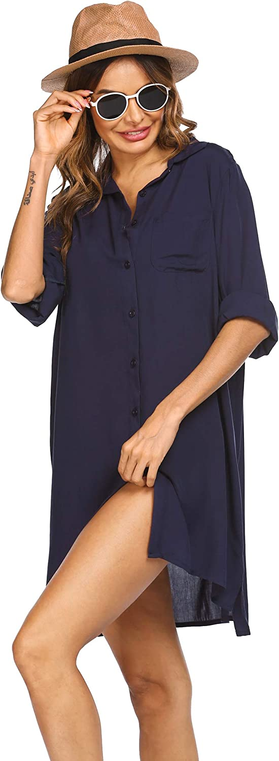 SHESHOW Beach Cover Up for Women Swimsuit Covers Beach Dress, Navy Blue, Large