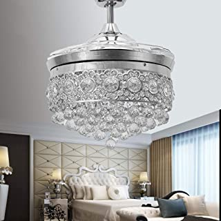 Huston Fan 42 Inches Polished Silver Modern Crystal Chandelier Ceiling Fan with Light Retractable Blades and Remote for Indoor LED 3 Color Changing Lighting Invisible Quiet Hidden Fandelier