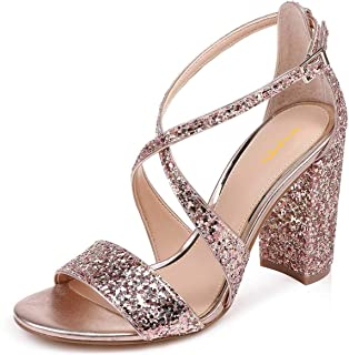 XYD Women Criss Cross Ankle Strap Chunky Heel Sandals Open Toe Strappy Glitter Wedding Party Dress Pump Shoes