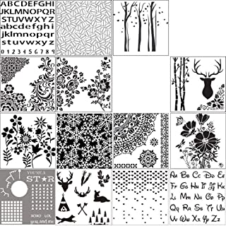 16 Styles Plastic Painting Drawing Stencil Template Sets Hollow DIY Craft Layering Stencils Scrapbooking Stamping Embossin...