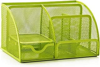 Office Desk Tidy Organiser Pen Holder Mesh Stationery Container (Green)