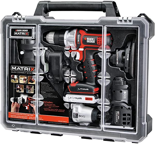BLACK DECKER Cordless Drill Combo Kit With Case 6 Tool BDCDMT1206KITC