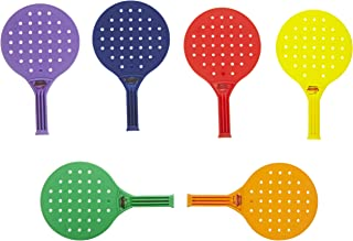 Sportime Global Games Paddle - 8 x 13 1/2 - Set of 6 Paddles - 6 Colors - Balls Sold Separately , Assorted Colors - 018946
