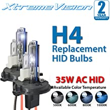 XtremeVision AC HID Xenon Replacement Bulbs - H4 / 9003 6000K - Light Blue (1 Pair) - 2 Year Warranty