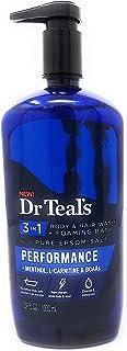 Dr Teal's 3 in 1 Body & Hair Wash + Foaming Bath with Pure Epsom Salt Performance + Menthol, L-Carnitine & BCAAs 34 FL OZ...