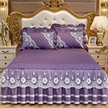 Lace Mattress Cover,Skin-Friendly Bed Skirt Non-Slip Bedspread Mattress Protective Case Reactive Printing and Dyeing Avail...