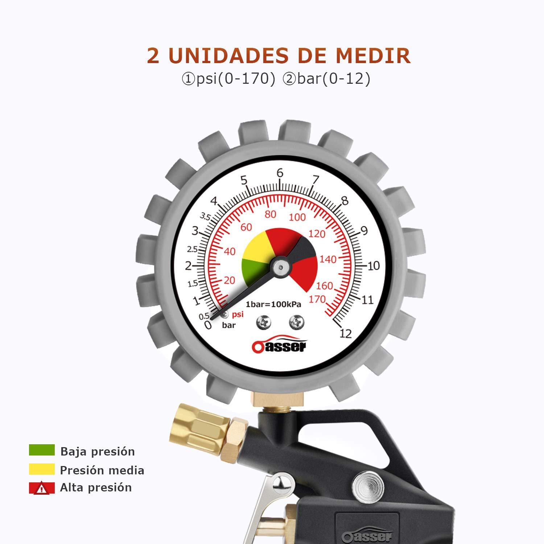 oasser Manómetro Presión Neumáticos 0-12bar Manómetro Inflador ...