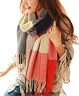Loritta Womens Fashion Long Plaid Shawl Big Grid Winter Warm Lattice Large Scarf