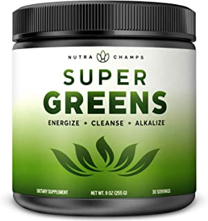 Super Greens Powder Premium Superfood - 20+ Organic Green Veggie Whole Foods - Wheat Grass, Spirulina, Chlorella & More - ...