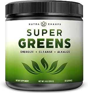 Super Greens Powder Premium Superfood – 20+ alimentos enteros ecológicos vegetales verdes – Hierba de trigo, Espirulina, C...