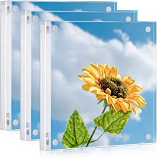 ONE WALL Acrylic Picture Frame Set, 3 Pcs 5x5 Inch Magnetic Clear Photo Frame Free Standing for Tabletop Desktop Display