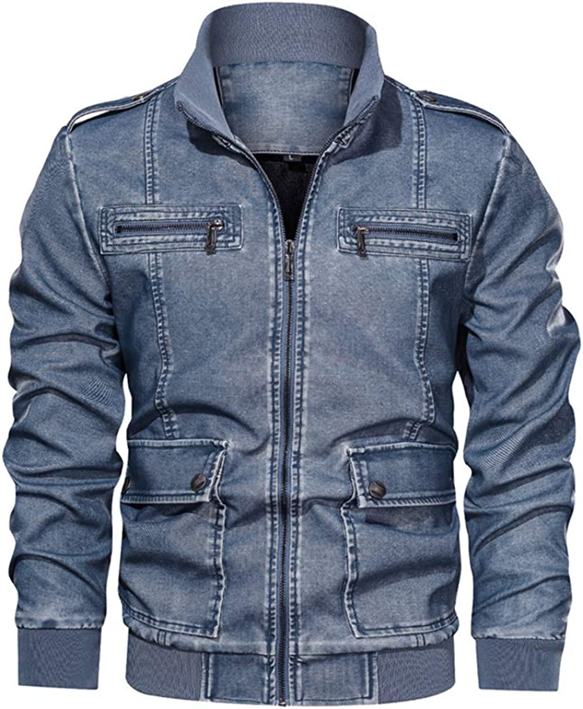 Denim Motorcycle Jacket Men Plus Size, NRUTUP Big and Tall Bomber Jacket Winter Zipper Denim Cool Jacket Casual