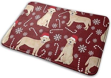 Yellow Labrador - Yellow Lab Quilt Dog, Christmas-Burgundy_29104 Doormat Entrance Mat Floor Mat Rug Indoor/Outdoor/Front Door