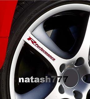 Racing Performance Decal Sticker Wheels Rims Racing Performance Sport Car Emblem Auto Set of 4 (RED)