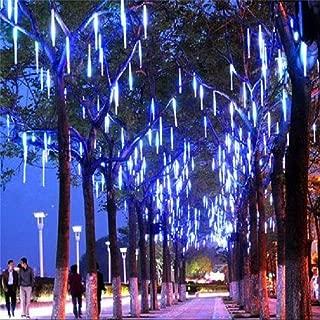 LDUSA HOME LED Meteor Shower Rain Lights,Outdoor String Lights, Waterproof Garden Lights 30cm 8 Tubes 144leds Snow Falling Raindrop Icicle Cascading Light for Holiday Wedding Xmas Tree Decor (Blue)