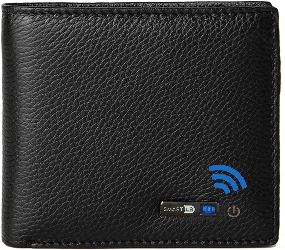 Smart Wallets Anti-Lost Tracker Bifold Genuine Leather Short Soft Bluetooth-compatible Mens Wallet (Black)