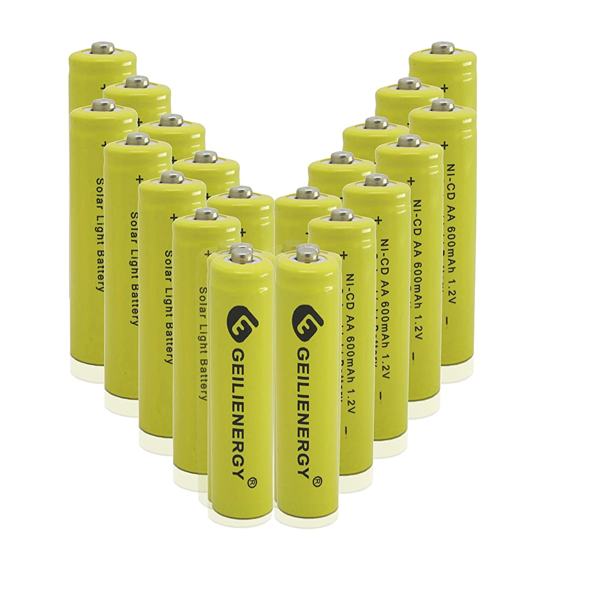 GEILIENERGY Solar Light AA Ni-CD 600mAh Rechargeable Batteries,AA Rechargeable Batteries for Solar Lights Solar Lamp(Pack of 20)