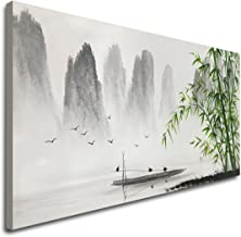 Large Hand Painted Traditional Chinese Painting Black and White Modern Landscape Canvas Wall Art Handmade Bamboo Artwork