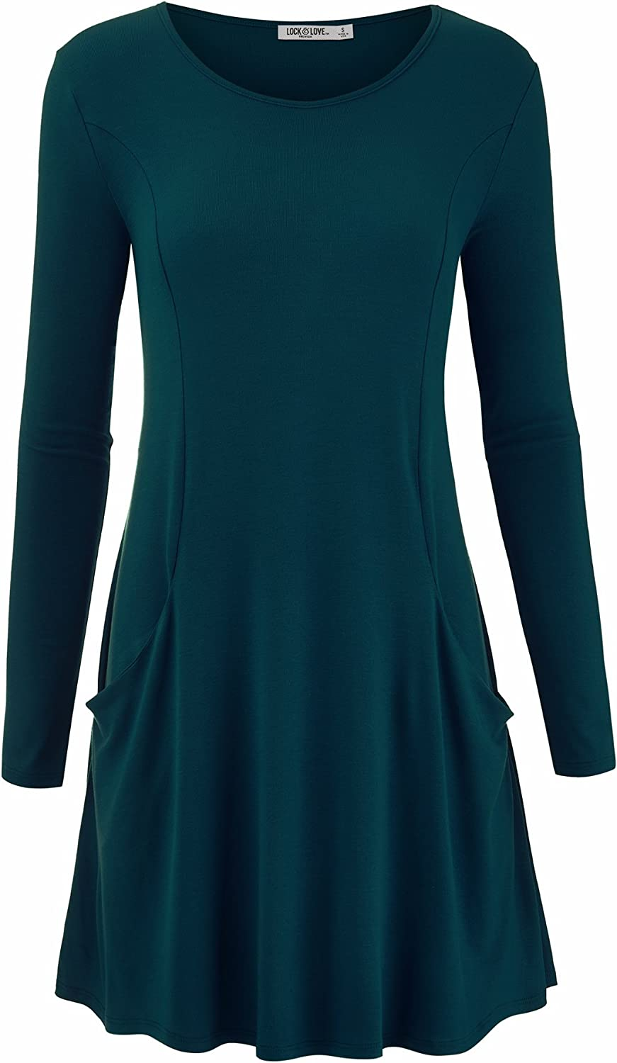 Lock and Love Women's Premium Soft French Terry Long Sleeve Crew Neck Casual Dress with Pockets
