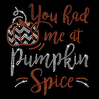 Pumpkin Spice Thanksgiving Iron On Rhinestone and Crystals and Rhinestuds T-Shirt Transfer by JCS Rhinestones