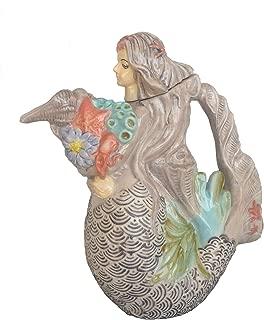 Blue Sky Clayworks Mermaid Holding Nautical Bouquet Figural Ceramic Teapot 9.5