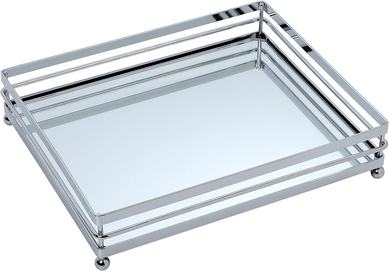 Houseables Mirrored Tray, Decorative Countertop Organizer, Silver, 10