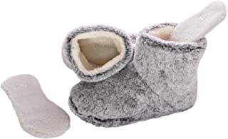 Snookiz Cozy Heated Booties Slippers for Women with Microwaveable LavaTech Inside Non- Electric Heating Pad Inserts for Cold Feet, Size 6/7- Faux Fur (Light Grey)
