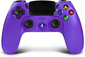 Wireless Controller for PS4,Proslife Game Controller for Playstation 4/Pro/Slim Consoles Touch Panel Joypad with Dual Vibration,Wired Gaming Remote for PS3/PC Windows via USB Cable-Electric Purple