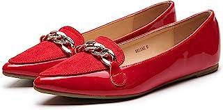 ASHLEY A فلورا أنيق براءات الاختراع بو مدبب راحة الانزلاق على الباليه أحذية مسطحة للنساء, (Red.1), 39 EU