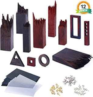 12PCS Wooden Pieces for Epoxy Resin Crafts, LET' S Resin Wood Frame Pendant Accessories, Mix Colors Wooden Resin Kit for Jewelry Making Supplies, Resin Pendant, Earring, Necklace Crafts DIY