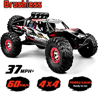 RTR Hobby RC Car 1:12 Scale 4WD Remote Control Truck 60+KM/H High Speed, Brushless 2.4 GHz All Terrain Waterproof Radio Controlled Cars with 1 Rechargeable Batteries, 4x4 Off-Road RC Monster Truck