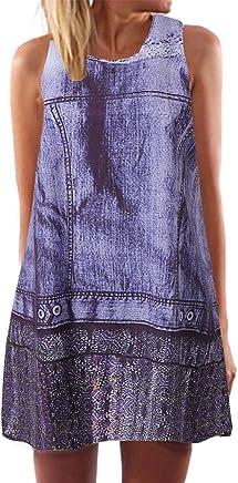 4ceecab303 Sunhusing Womens Round Neck Sleeveless Print Dress Summer New Simple  Hipster Bohemian Beach Dress